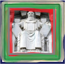 "A sculpture of Moses sitting atop the U.S. Supreme Court in Washington, D.C. ""What hath God wrought?"" had been tapped out on the telegraph from within the Old Chamber of the Court back in 1844."