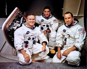 """The first to break the """"surly bonds of earth"""" and read from the book of Genesis as they orbited the moon, Christmas Eve 1968. Left to right - Frank Borman, Bill Anders and Jim Lovell."""