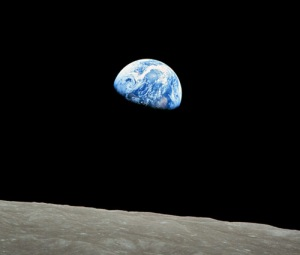 """""""Earthrise"""". The surreal view of Earth from Apollo 8, Christmas Eve, 1968."""