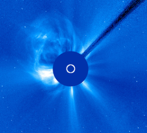 "From the Solar and Heliospheric Observatory (SOHO) camera 3.  Solar ""eruption"" of April 2."